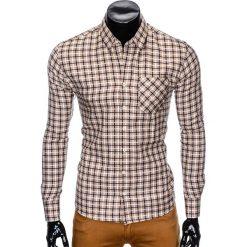 KOSZULA MĘSKA W KRATĘ Z DŁUGIM RĘKAWEM K429 - BEŻOWA/GRANATOWA. Brązowe koszule męskie na spinki marki Ombre Clothing, m, z aplikacjami, z kontrastowym kołnierzykiem, z długim rękawem. Za 59,00 zł.