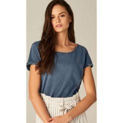 Bluzki, topy, tuniki: Bawełniana koszulka z dekoltem typu łódka – Niebieski