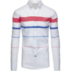 Koszule męskie na spinki: Biała koszula męska w paski (dx1288)