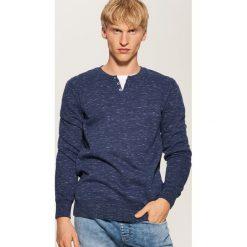 Bluza z guzikami - Granatowy. Czarne bluzy męskie rozpinane marki House, l, z nadrukiem. Za 79,99 zł.