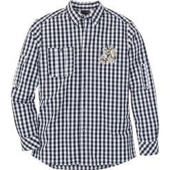 Koszula ludowa Regular Fit bonprix czarno-biały w kratę. Białe koszule męskie marki bonprix, z klasycznym kołnierzykiem, z długim rękawem. Za 37,99 zł.