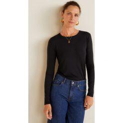 Mango - Bluzka Intim. Czarne bluzki asymetryczne Mango, l, z dzianiny, casualowe, z okrągłym kołnierzem. Za 59,90 zł.