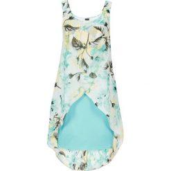 Sukienka z kwiatowym nadrukiem bonprix pastelowy miętowy z nadrukiem. Zielone sukienki hiszpanki bonprix, na lato, z nadrukiem. Za 59,99 zł.