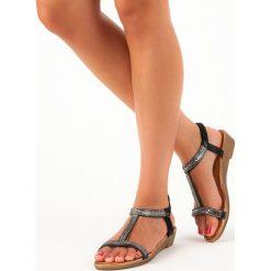 Sandały damskie: Czarne sandały z gumką RENDA czarne