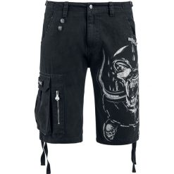 Motörhead EMP Signature Collection Krótkie spodenki czarny. Czarne bermudy męskie Motörhead, z aplikacjami. Za 244,90 zł.