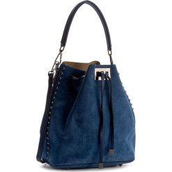 Torebka CREOLE - K10343  Niebieski. Niebieskie torebki worki Creole, w geometryczne wzory, ze skóry. W wyprzedaży za 209,00 zł.