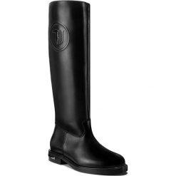 Oficerki TRUSSARDI JEANS - 79A00101 K299. Czarne buty zimowe damskie marki Kazar, ze skóry, przed kolano, na wysokim obcasie, na obcasie. W wyprzedaży za 619,00 zł.