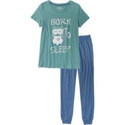 Piżamy damskie: Piżama bonprix niebieski dżins – niebieski mineralny z nadrukiem