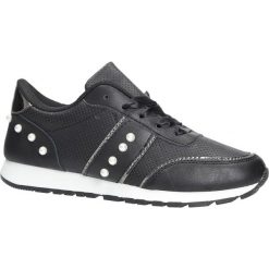 Czarne buty sportowe z perełkami wiązane wstążką Casu C928-30. Czarne buty sportowe damskie Casu. Za 49,99 zł.