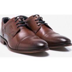 S. Oliver - Półbuty. Brązowe buty wizytowe męskie S.Oliver, z materiału, z okrągłym noskiem, na sznurówki. W wyprzedaży za 249,90 zł.