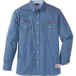 Koszula z długim rękawem Regular Fit bonprix niebieski dżins. Białe koszule męskie marki bonprix, z klasycznym kołnierzykiem, z długim rękawem. Za 54,99 zł.