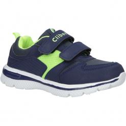 Granatowe buty sportowe na rzepy ze skórzaną wkładką Casu K-219. Szare buciki niemowlęce marki Casu, na rzepy. Za 69,99 zł.