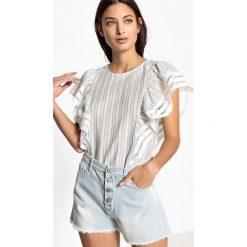 Bluzki asymetryczne: Bluzka z okrągłym wycięciem szyi, nadrukiem i krótkim rękawem