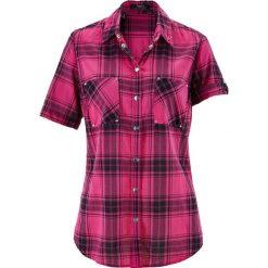 Bluzka, krótki rękaw bonprix różowo-czarny w kratę. Czerwone bluzki asymetryczne bonprix, z krótkim rękawem. Za 54,99 zł.