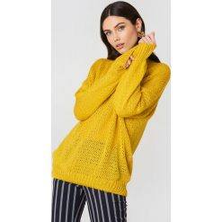Swetry oversize damskie: Hot & Delicious Sweter oversize z dzianiny Solid - Yellow
