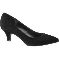 Czółenka damskie Graceland czarne. Czarne czółenka marki Graceland, z materiału, na obcasie. Za 79,90 zł.