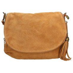 Torebki klasyczne damskie: Skórzana torebka w kolorze jasnobrązowym – 30 x 20 x 3 cm
