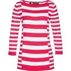 Sweter bonprix biało-różowy hibiskus. Białe swetry klasyczne damskie marki bonprix. Za 37,99 zł.