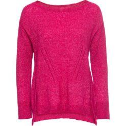 Swetry klasyczne damskie: Sweter dzianinowy bonprix ciemnoróżowy melanż