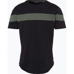 Only&Sons - T-shirt męski – Milo, czarny. Czarne t-shirty męskie Only&Sons, m, w paski, z kontrastowym kołnierzykiem. Za 39,95 zł.