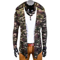 BLUZA MĘSKA Z KAPTUREM NARZUTKA B703 - KHAKI/MORO. Zielone bluzy męskie rozpinane marki Ombre Clothing, m, moro, z bawełny, z kapturem. Za 79,00 zł.