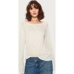 Kardigany damskie: Sweter z półokrągłym dekoltem - Jasny szar
