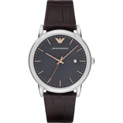Zegarek EMPORIO ARMANI - Luigi AR1996 Dark Brown/Steel. Szare zegarki męskie marki Emporio Armani, l, z nadrukiem, z bawełny, z okrągłym kołnierzem. Za 719,00 zł.