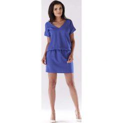 Niebieska Sukienka z Dekoltem na Plecach. Niebieskie sukienki letnie Molly.pl, l, w jednolite wzory, sportowe, z dekoltem na plecach, mini, sportowe. Za 119,90 zł.