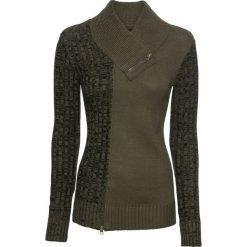 Sweter dzianinowy z zamkami bonprix ciemnooliwkowy melanż. Zielone swetry klasyczne damskie marki bonprix, z dzianiny, z dekoltem w serek. Za 109,99 zł.