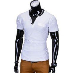 T-shirty męskie: T-SHIRT MĘSKI BEZ NADRUKU S679 – BIAŁY