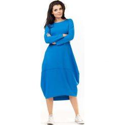 Niebieska Dzianinowa Midi Sukienka Bombka z Długim Rękawem. Niebieskie sukienki dzianinowe marki Molly.pl, l, sportowe, z długim rękawem, midi, bombki. Za 139,90 zł.