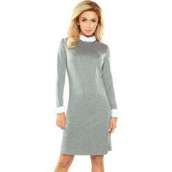 Sukienka z kołnierzykiem sf-167-1. Szare sukienki dzianinowe marki SaF, xl, melanż, ołówkowe. Za 159,90 zł.