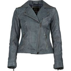 Bomberki damskie: Skórzana kurtka w kolorze błękitnym
