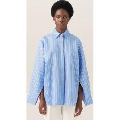 Koszule wiązane damskie: Koszula oversize w paski redesign - Wielobarwn