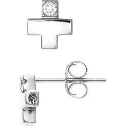 Kolczyki damskie: Srebrne kolczyki-wkrętki z diamentami