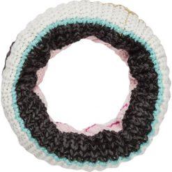 Szaliki damskie: Szal-koło w kolorze czarno-biało-turkusowym – 60 x 32 cm