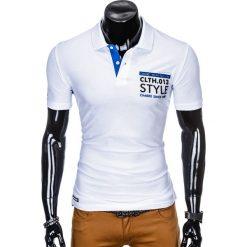 KOSZULKA MĘSKA POLO Z NADRUKIEM S904 - BIAŁA. Białe koszulki polo Ombre Clothing, m, z nadrukiem. Za 34,99 zł.