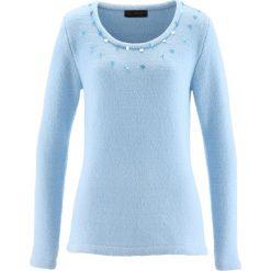 Swetry klasyczne damskie: Sweter bonprix lodowy niebieski