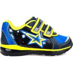 """Sneakersy """"Todo"""" w kolorze granatowo-żółtym. Niebieskie trampki chłopięce marki geox kids, z gumy. W wyprzedaży za 125,95 zł."""