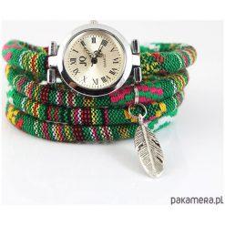 Zegarek, bransoletka - Zielony, boho - piórko. Zielone bransoletki damskie na nogę Pakamera. Za 95,00 zł.