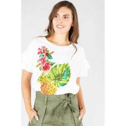 T-shirty damskie: Kwiecisty T-shirt z okrągłym dekoltem i krótkim rękawem