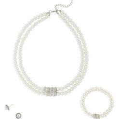 Komplet biżuterii z perełek: kolia + bransoletka + kolczyki bonprix kremowo-srebrny kolor. Białe bransoletki damskie marki bonprix, srebrne. Za 89,99 zł.