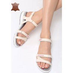 Beżowe Skórzane Sandały Drawn To Me. Brązowe sandały damskie marki Reserved, na platformie. Za 89,99 zł.