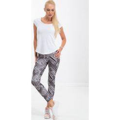 Spodnie damskie: Biało-czarne sportowe legginsy H006