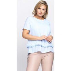 Niebieska Bluzka Chaplet. Niebieskie bluzki nietoperze Born2be, xl, z falbankami, z krótkim rękawem. Za 34,99 zł.