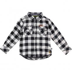 Koszula w kolorze czarno-białym. Białe koszule chłopięce Paglie, New G.O.L & more, z aplikacjami, z bawełny, z klasycznym kołnierzykiem. W wyprzedaży za 65,95 zł.