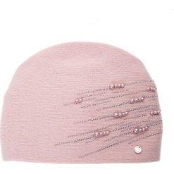 Różowa czapka z perełkami QUIOSQUE. Czerwone czapki damskie QUIOSQUE, z poliamidu. Za 119,99 zł.