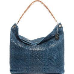 Torebki klasyczne damskie: Skórzana torebka w kolorze niebieskim – 38 x 35 x 13 cm