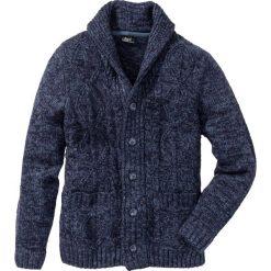 Kardigany męskie: Sweter rozpinany w warkocze Regular Fit bonprix ciemnoniebieski melanż