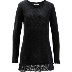 Sweter z koronką, długi rękaw bonprix czarny. Niebieskie swetry klasyczne damskie marki bonprix, z nadrukiem. Za 59,99 zł.